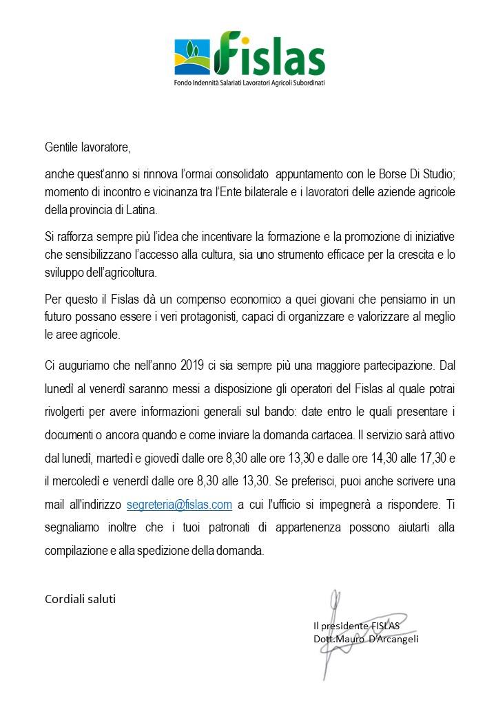lettera borse 2019